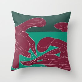 Picasso - On the beach (Bordeaux Green) Throw Pillow
