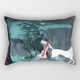 Woman Wolf wandering Rectangular Pillow