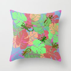 Monstera and Lizards (Retro Pink) Throw Pillow