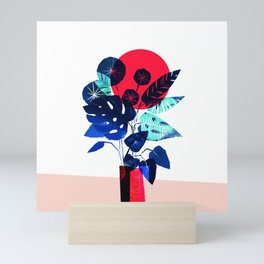 Blue Flowers in a Red Vase – hand-printed linocut illustration Mini Art Print