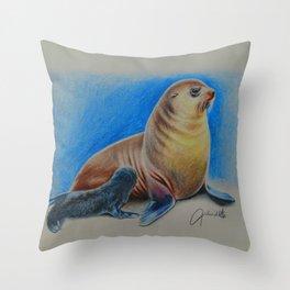 New Zealand Fur Seal and Pup Throw Pillow