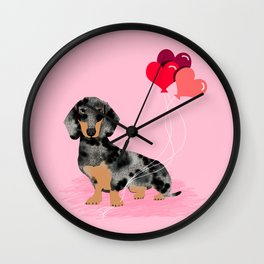Dachshund love heart balloons valentines day pet portrait doxie lover Wall Clock
