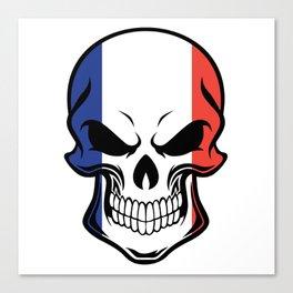 French Flag Skull Canvas Print