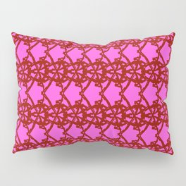 Braided openwork pattern of wire and brown arrows on a pink background. Pillow Sham