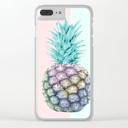 Pineapple with pastel background Clear iPhone Case