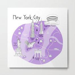 New York City Map - Purple Metal Print