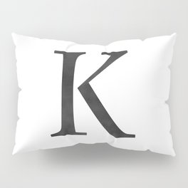Letter K Initial Monogram Black and White Pillow Sham