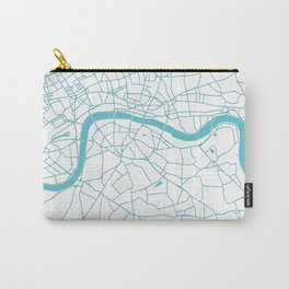 London White on Turquoise Street Map Carry-All Pouch