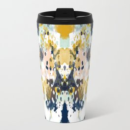 Sloane - Abstract painting in modern fresh colors navy, mint, blush, cream, white, and gold Travel Mug