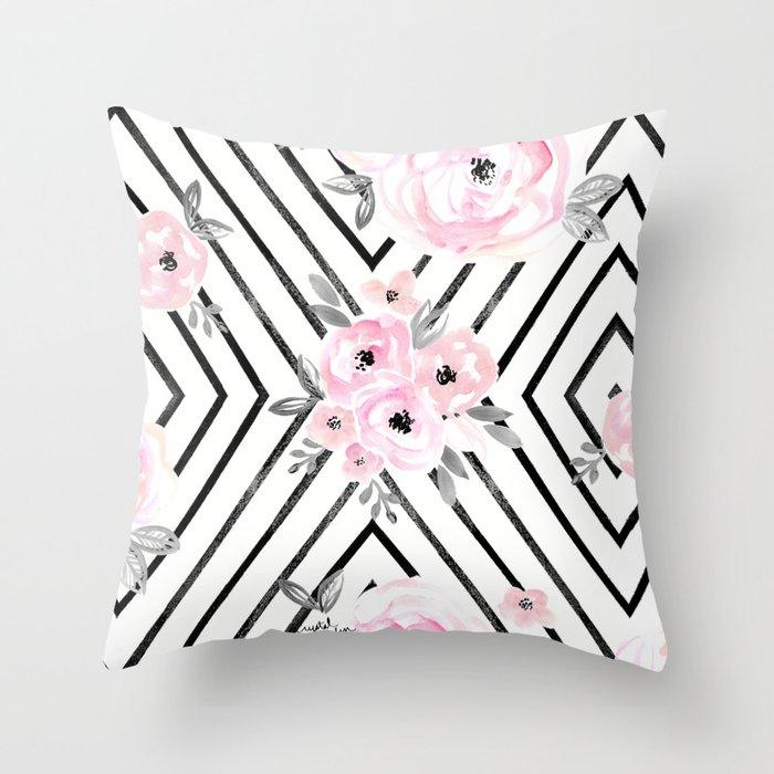 Blush Roses Mod Throw Pillow