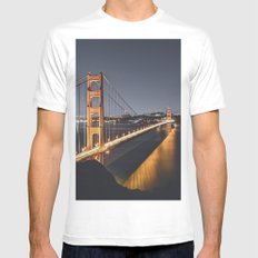 Golden Gate Glowing MEDIUM White Mens Fitted Tee