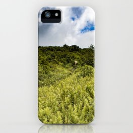 Beautiful Blue Sky Filled with Clouds of the Fern Covered Side of Mombacho Volcano, Nicaragua iPhone Case