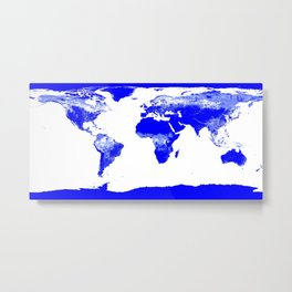 World map Blue & White Metal Print