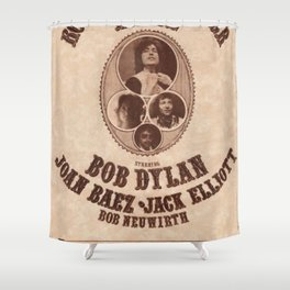 Vintage 1975 Bob Dylan and Rolling Thunder Review Flyer - Poster Providence Concert Shower Curtain