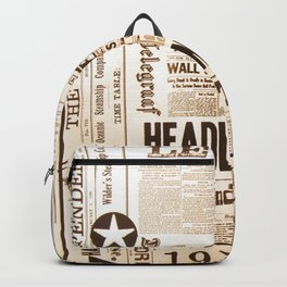 Vintage Newspaper Ads Black and White Typography Backpack