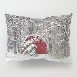 Red Barn in the Snow Pillow Sham