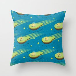 Avacado in Space Throw Pillow
