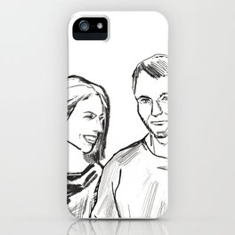 She and he black white drawing, digital illustration iPhone Case