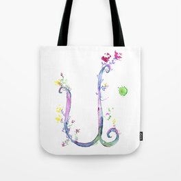 Letter U watercolor - Watercolor Monogram - Watercolor typography - Floral lettering Tote Bag