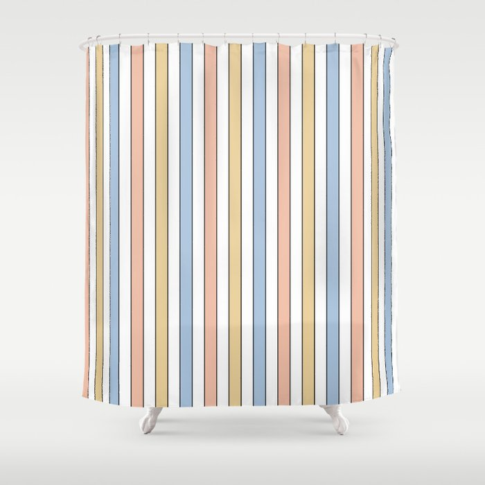 White Peach Mustard And Blue Pastel With Black Pinstripe Shower Curtain By Podartist