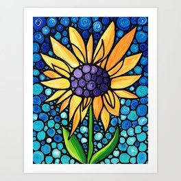 Standing Tall - Sunflower Art By Sharon Cummings Art Print