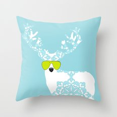 Blue Deer with sunglasses on  Throw Pillow