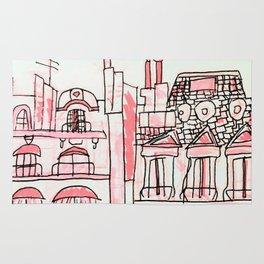 Pink Parisian Architecture Rug