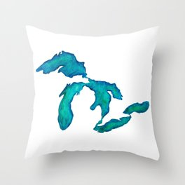 watercolor Great Lakes Throw Pillow