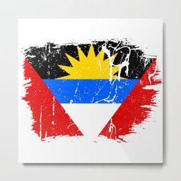Distressed Antigua and Barbuda Flag Graffiti Metal Print