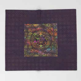 Colorful Sri Yantra  / Sri Chakra Throw Blanket