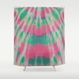 Tie Dye Pink & Green Streaks Shower Curtain
