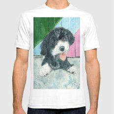 Sammy the Parti-poodle Pup White MEDIUM Mens Fitted Tee