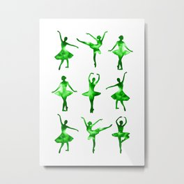 Watercolor Ballerinas (Green) Metal Print