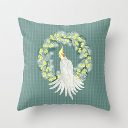 Cockatiel with daisy palm wreath Throw Pillow