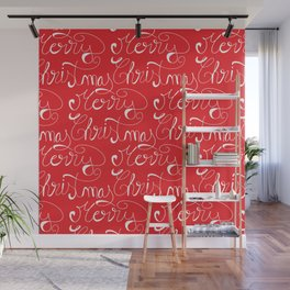 Merry Christmas Type Pattern Wall Mural