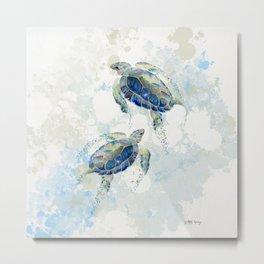 Swimming Together 2 - Sea Turtle  Metal Print