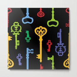Rainbow Vintage Keys Pattern Metal Print