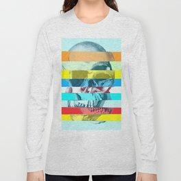 Striped Glitch Skull Long Sleeve T-shirt