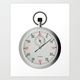 Silver Stop Watch Art Print