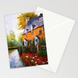 Old house with a beautiful fence in the rain Stationery Cards