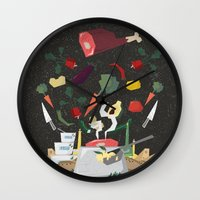 meat Wall Clocks featuring MEAT DİNNER by Ceren Aksu Dikenci