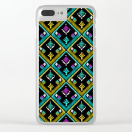 Abstract ethnic ornament. Black background . Clear iPhone Case