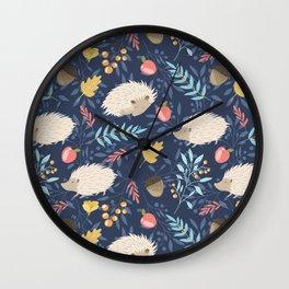 White hedgehogs Wall Clock