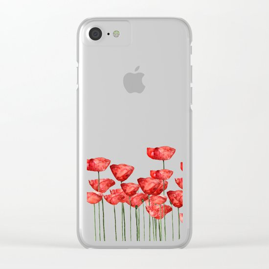 Poppyfield poppies poppy blue sky- watercolor artwork Clear iPhone Case