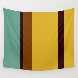 Aqua, Gold, and Brown Stripes Wall Tapestry