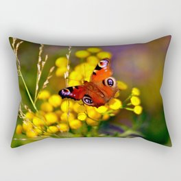 Autumnal Blossoms and Peacock Butterfly Rectangular Pillow