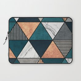 Copper, Marble and Concrete Triangles 2 with Blue Laptop Sleeve