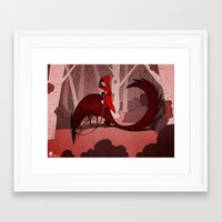 red riding hood Framed Art Prints featuring Red Riding Hood riding by Gromy