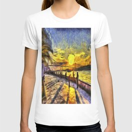 Sunset Fishing Istanbul Van Gogh T-shirt
