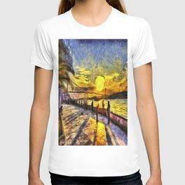 Sunset Fishing Istanbul Van Gogh T-shirt